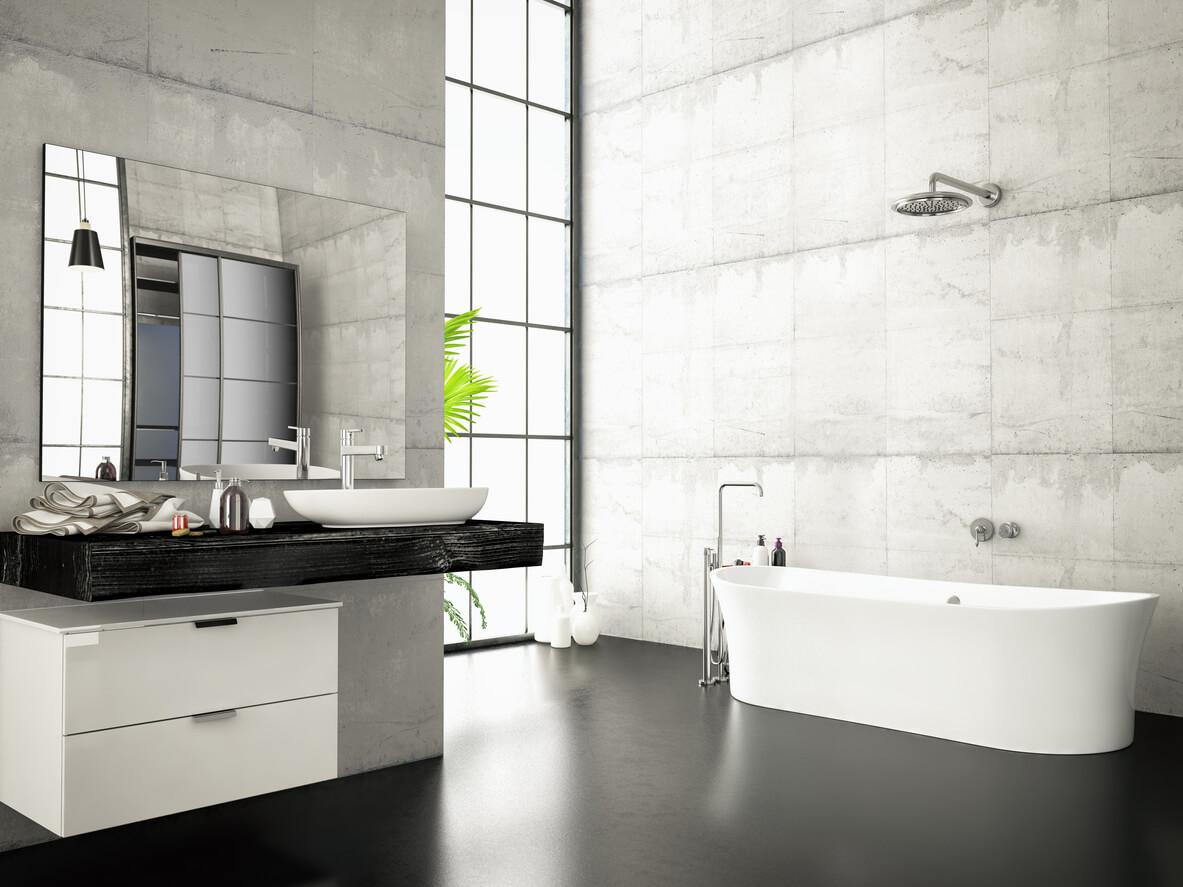 Dark Floors With White Walls Bathroom Design