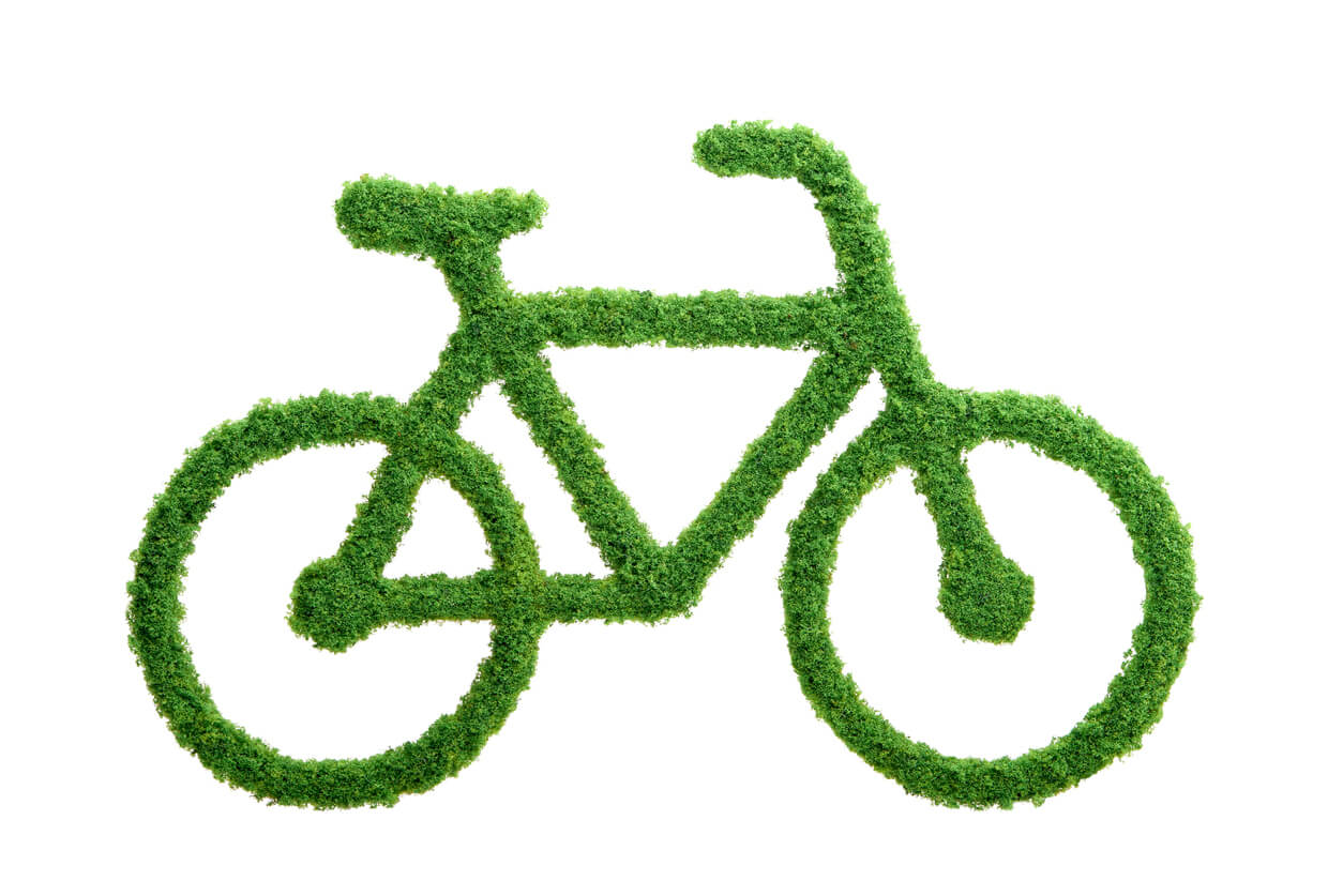 Grass growing in the shape of a bicycle. Choose a healthy lifestyle and protect the environment.