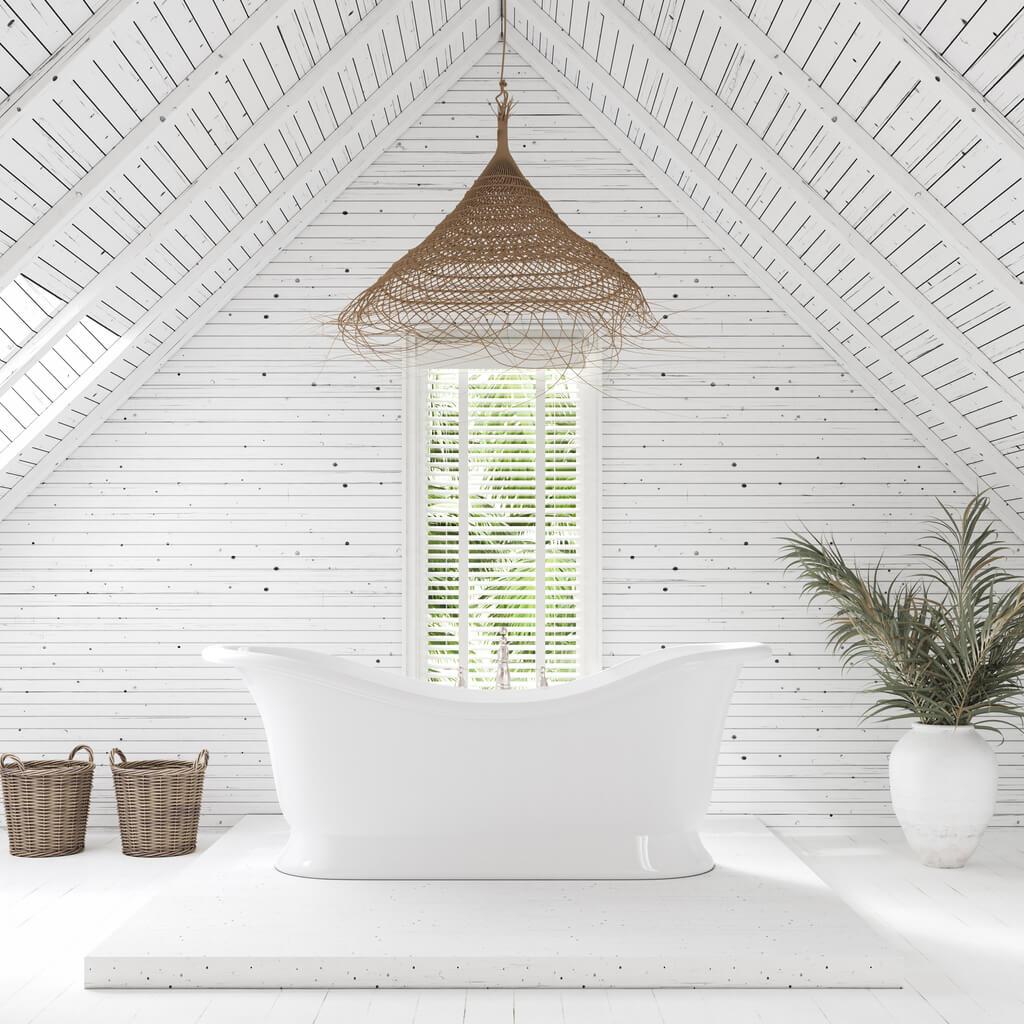 Modern bathroom in attic of farm house