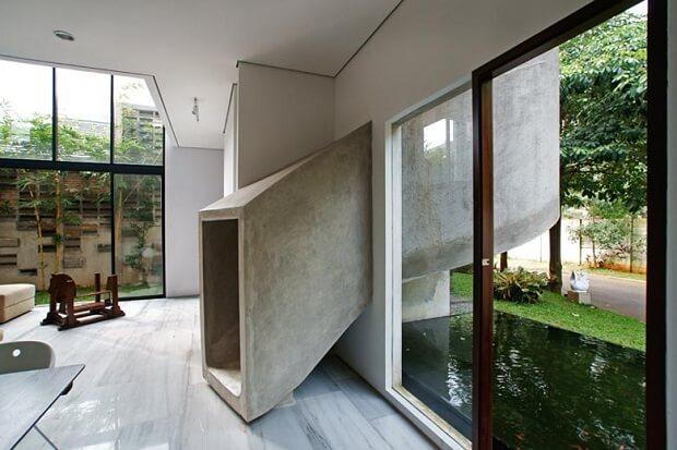 Stone slide inside house in Indonesia