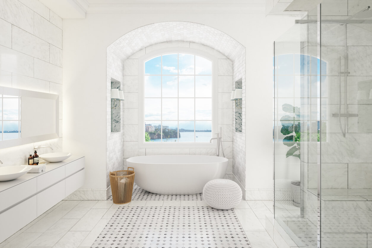 Interior of a contemporary bathroom with washstand and bathtub