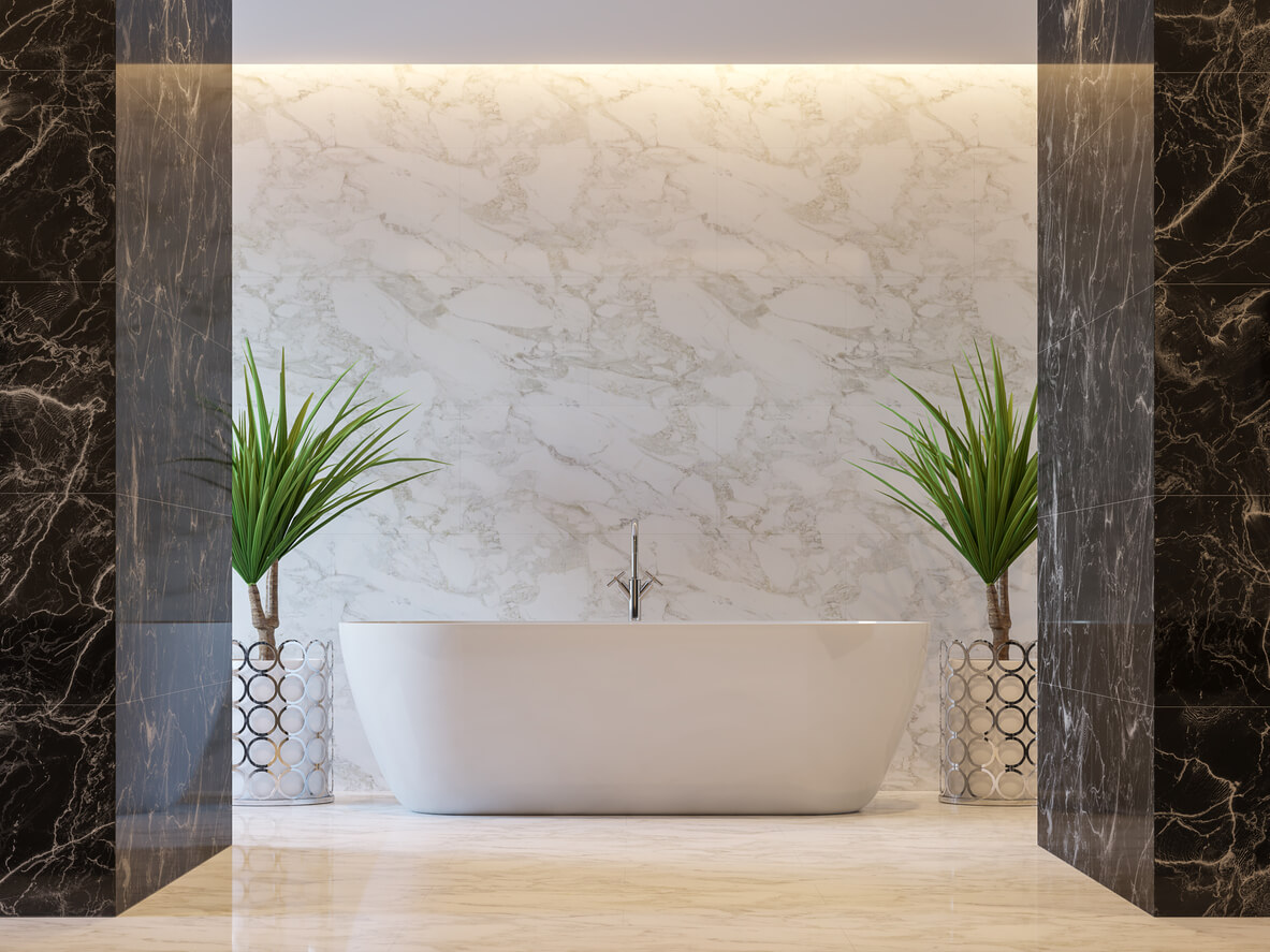 Luxury bathroom 3d render,There are black and white marble tile wall and floor.Decorate with chrome tree pot.