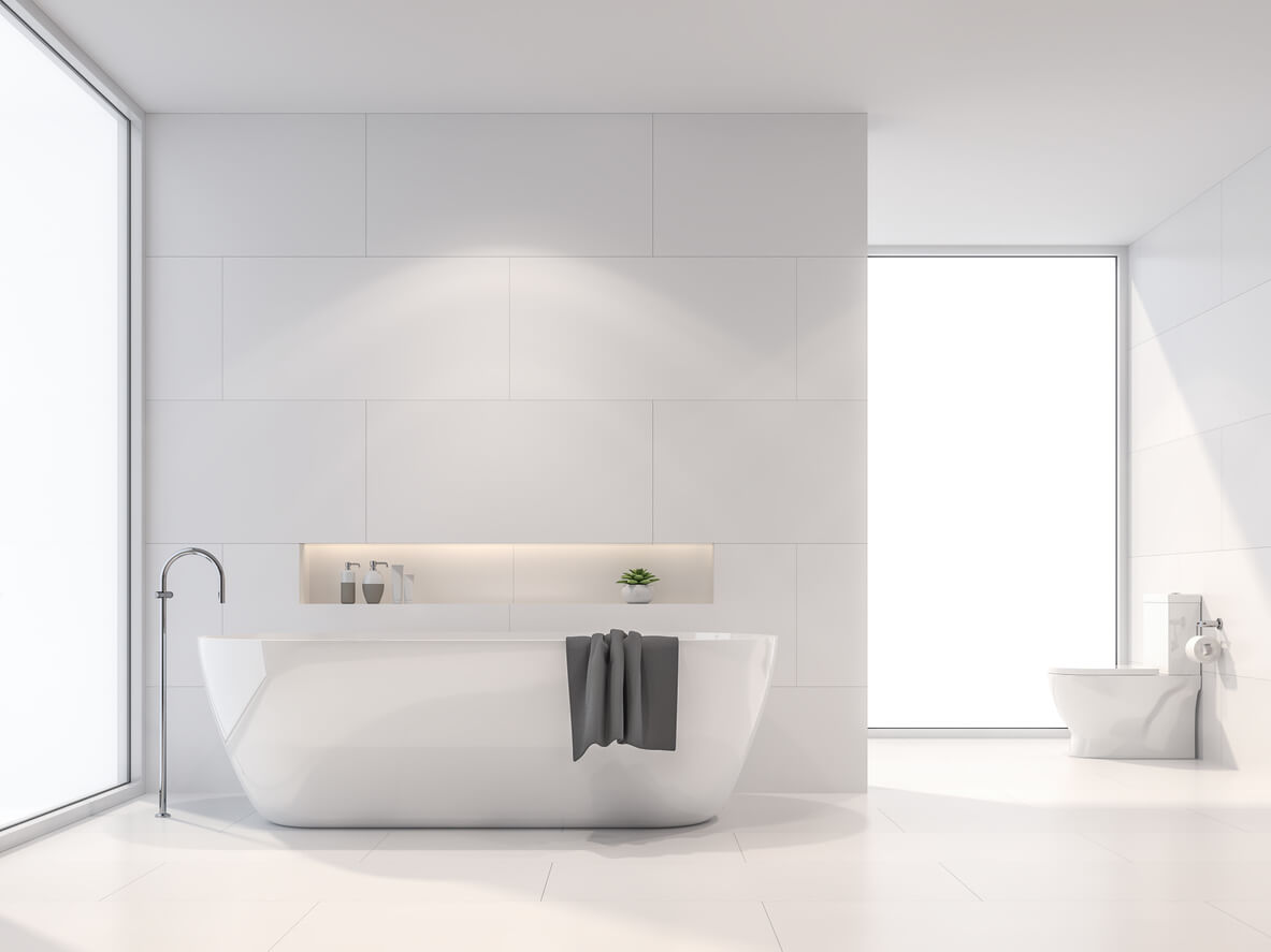 Modern white bathroom 3d render. There are white tile wall and floor.The room has large windows.Sunlight shines into the room.
