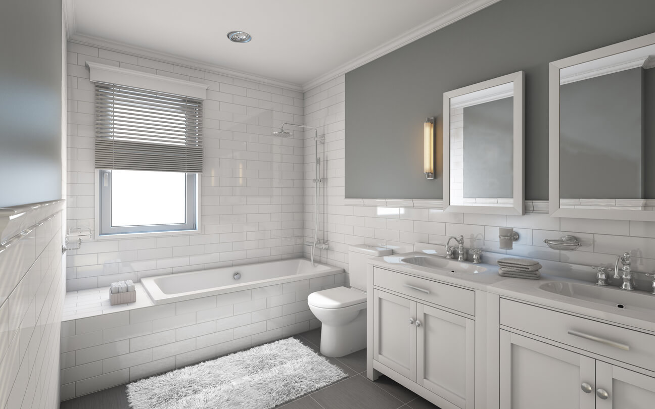 White and Grey Bathroom in Country House