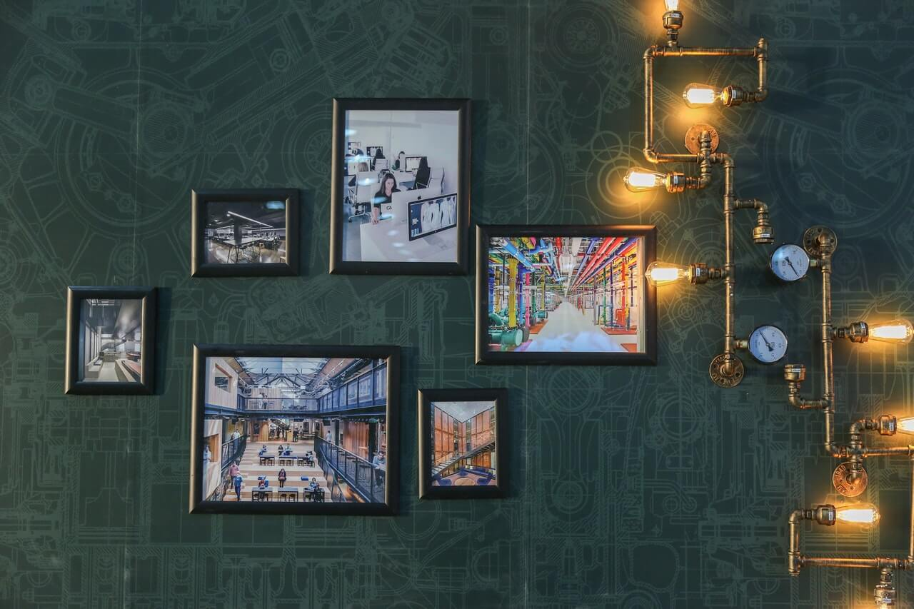 Pictures hanging on an interior wall