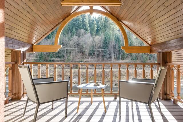 best chairs and wooden deck