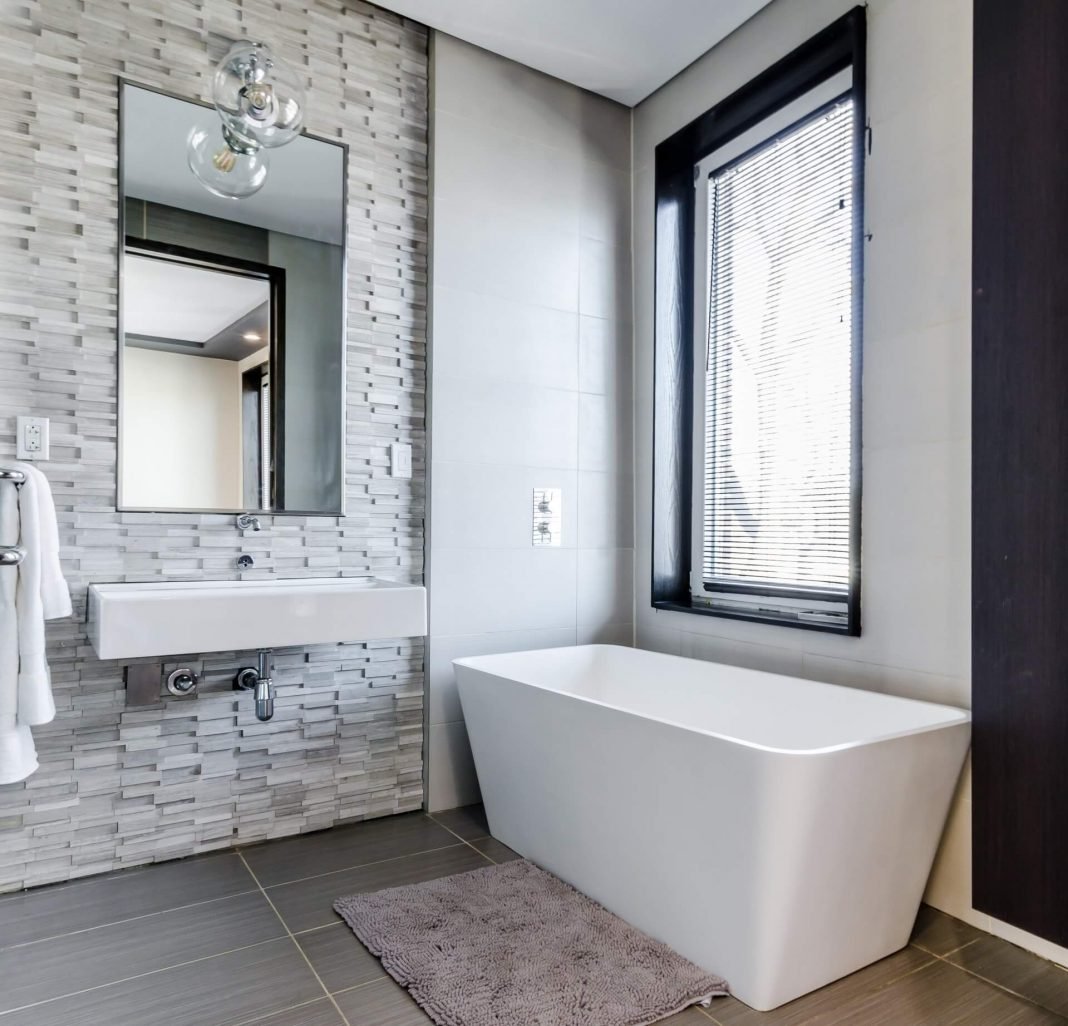 best white bathroom with a white bath