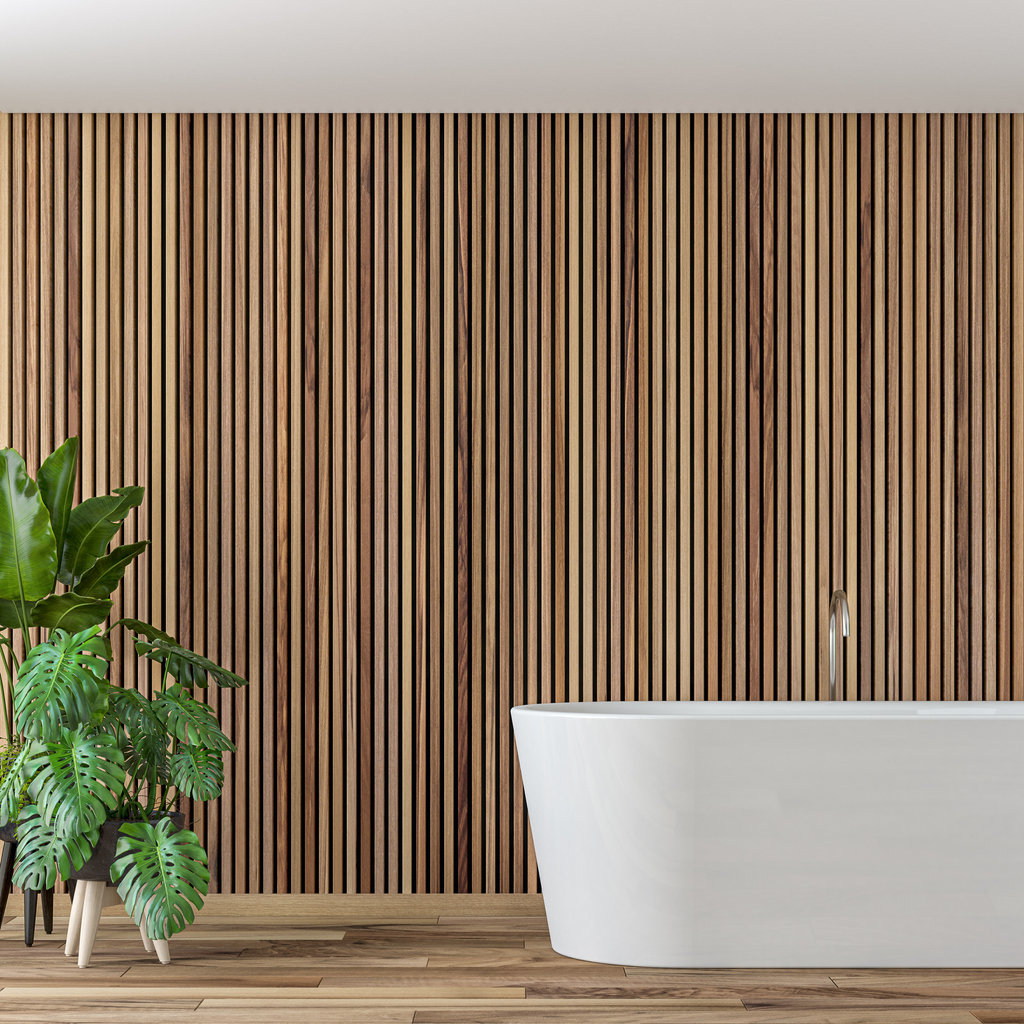 Empty luxury modern bathroom interior with hardwood parquet floor and empty wooden paneled wall with copy space. Self-standing bathtub on the right and potted plants on a side. 3D rendered image.