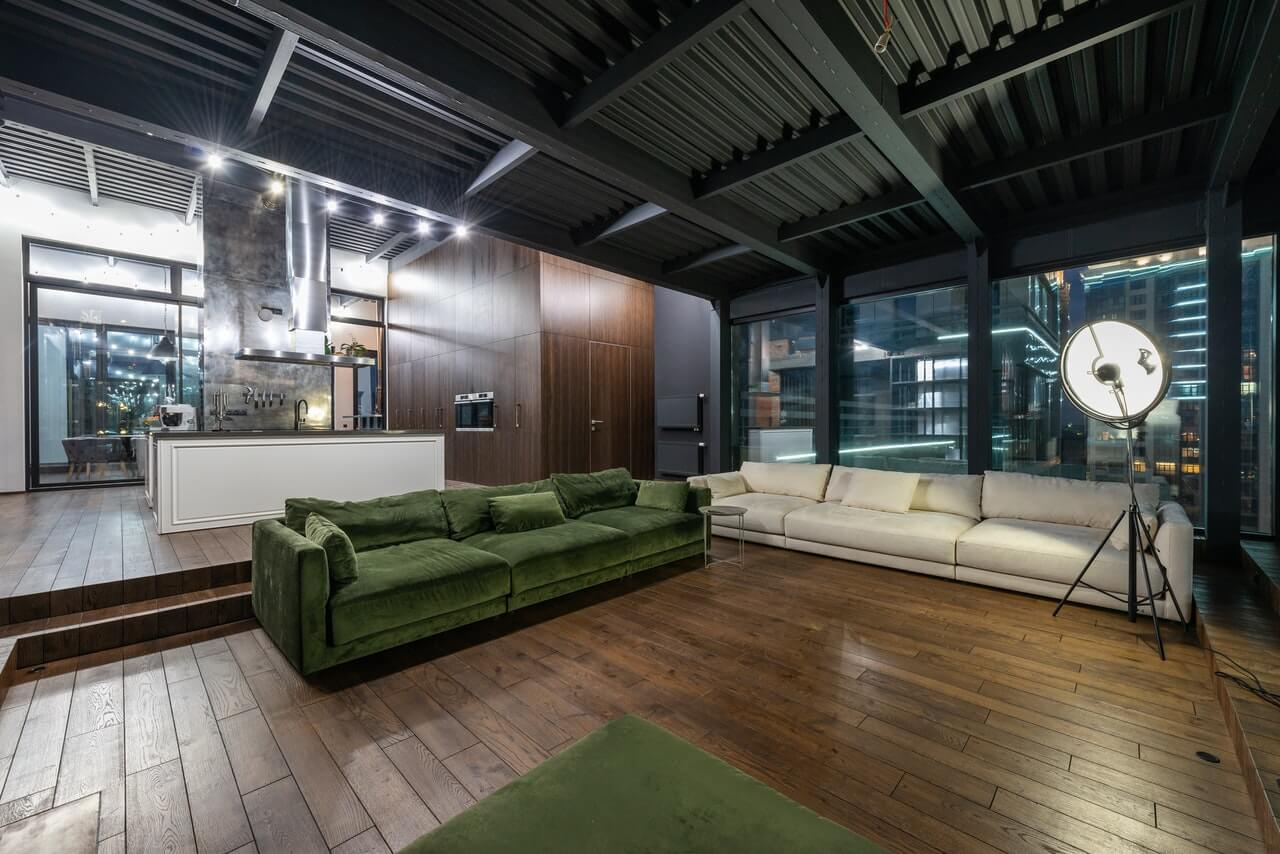 Industrail living rooms with ceiling and floor lights