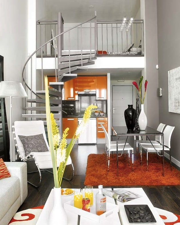 Spiral staircase to platform bed in studio.