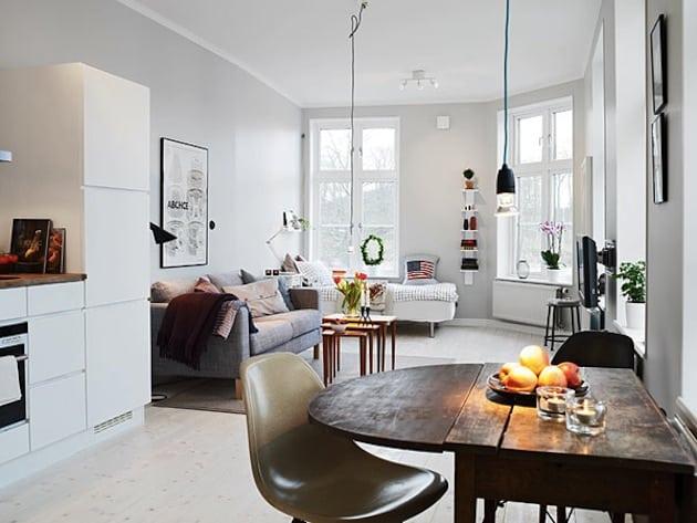 White minimalist studio apartment