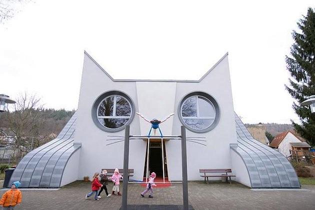 cat shaped school