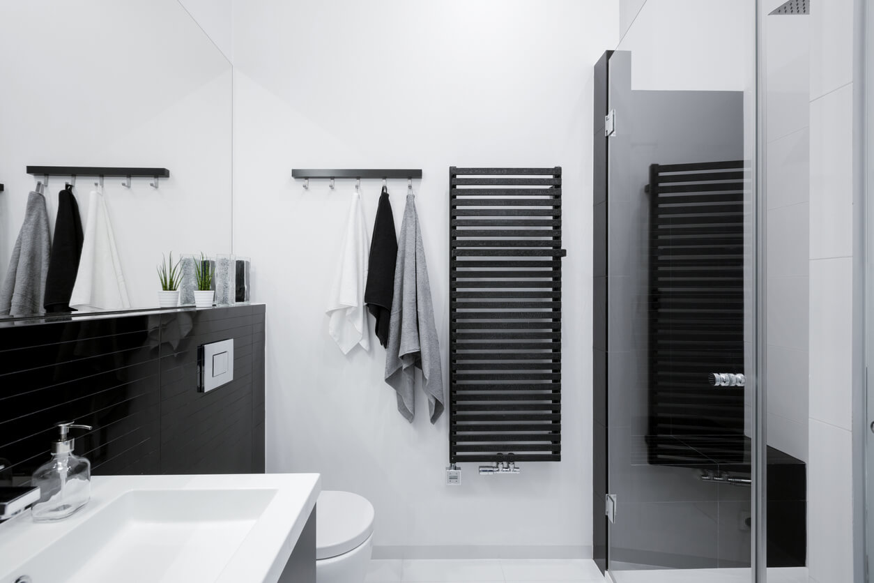 White and black bathroom with black radiator and glass shower.