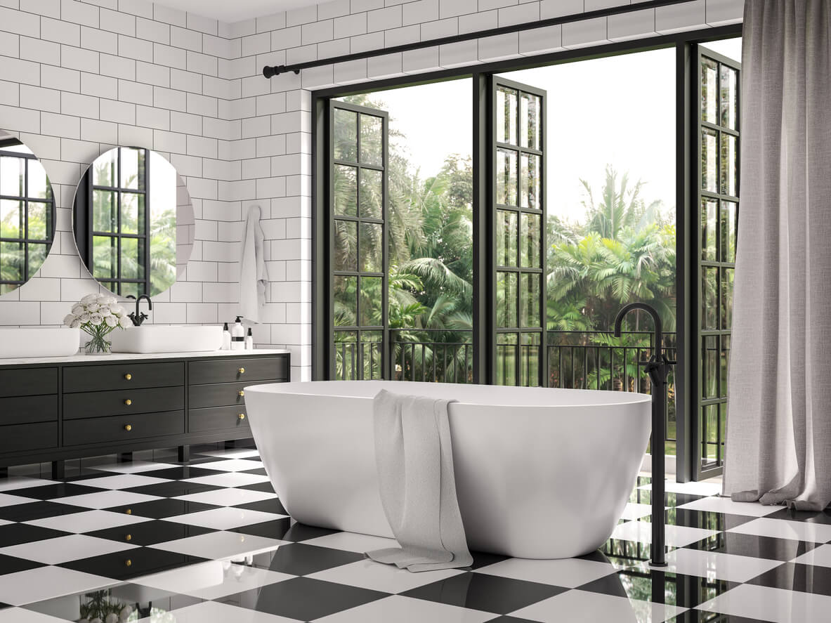 Checker floor tile and white wall tile with brick pattern,Decorate with black wood cabinet ,Rooms have large open windows, overlook terrace and nature view.