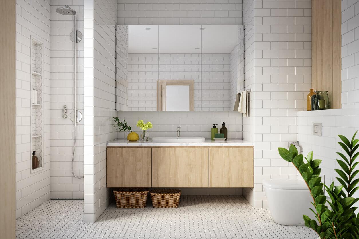 Bathroom in a classic white brick tile
