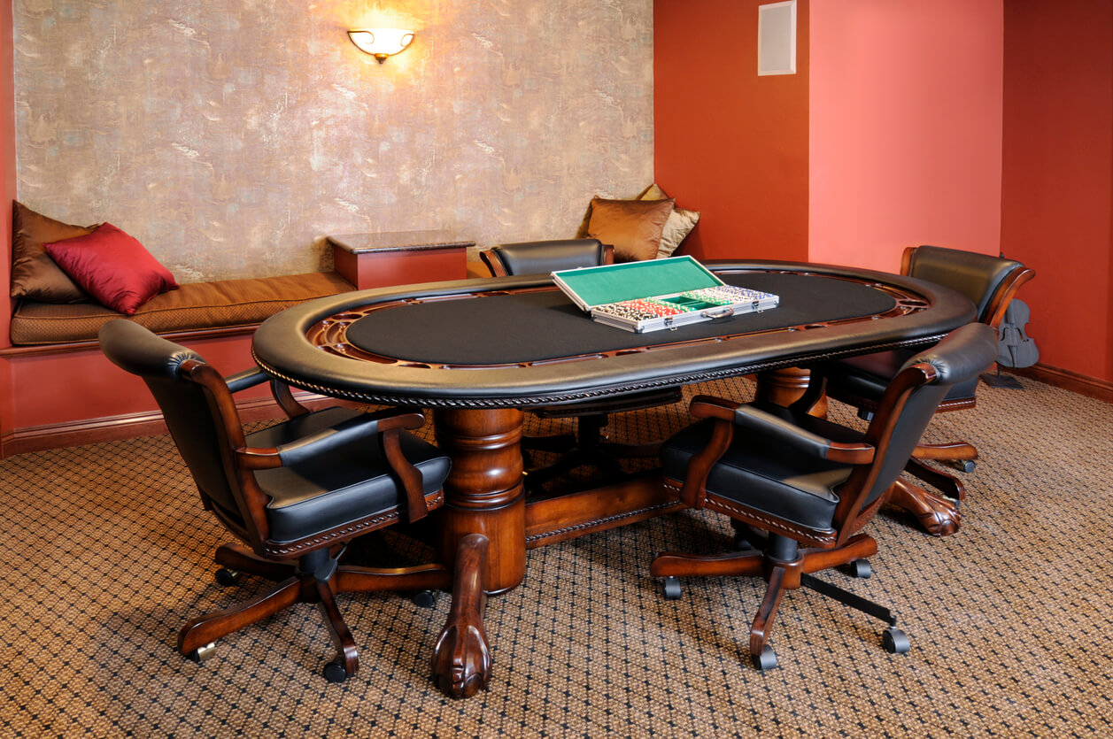 Carpeted Game Room With Poker, Cards Table, Chairs, Brown, Hardwood