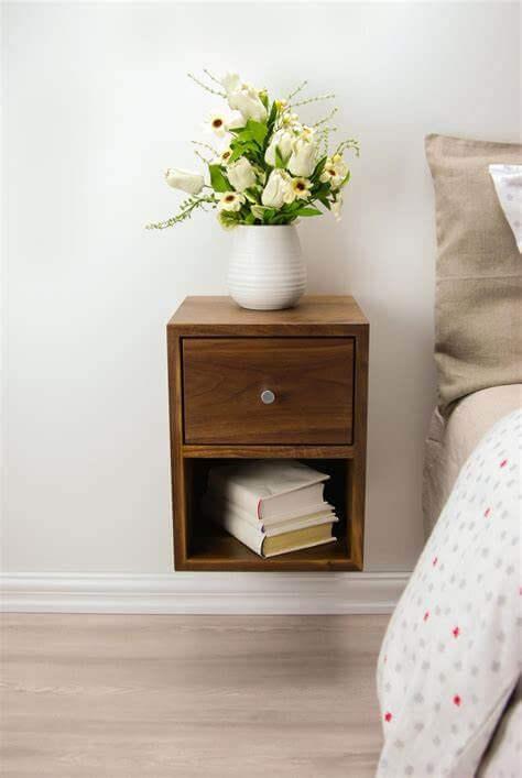 Narrow floating bedside cabinet
