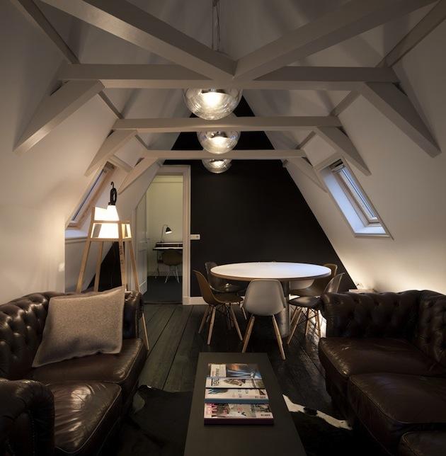Wooden beams in attic space