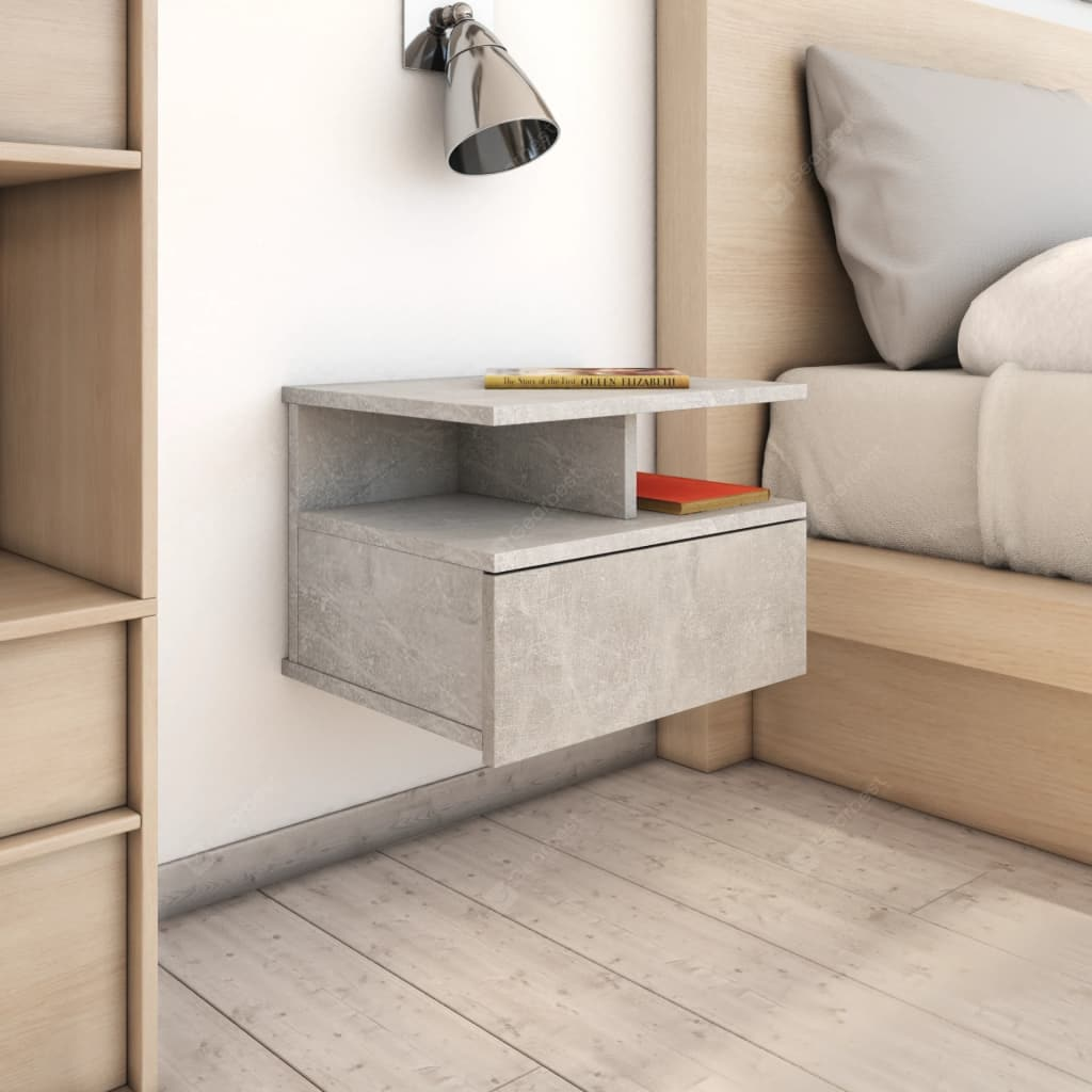 Concrete floating nightstand