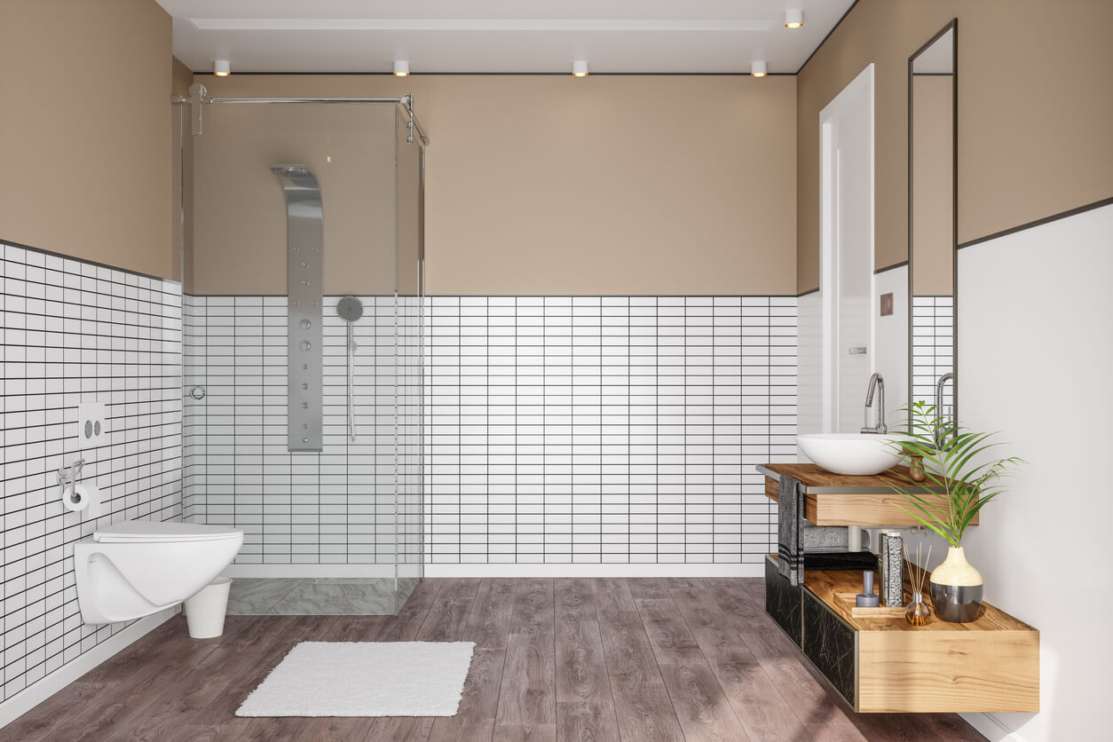 Dark Grout with White Tiles