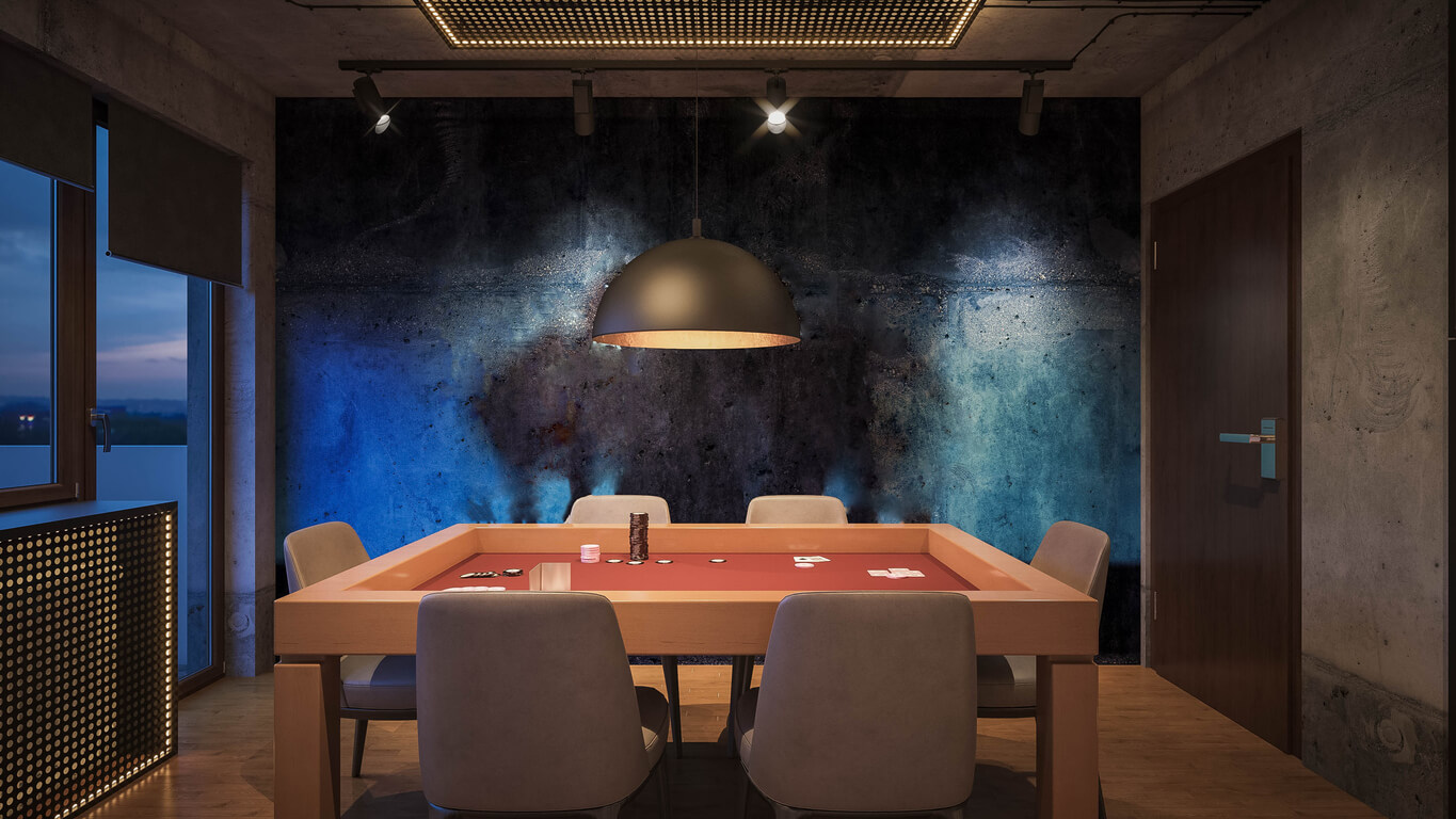 poker room with long hanging ceiling light above table