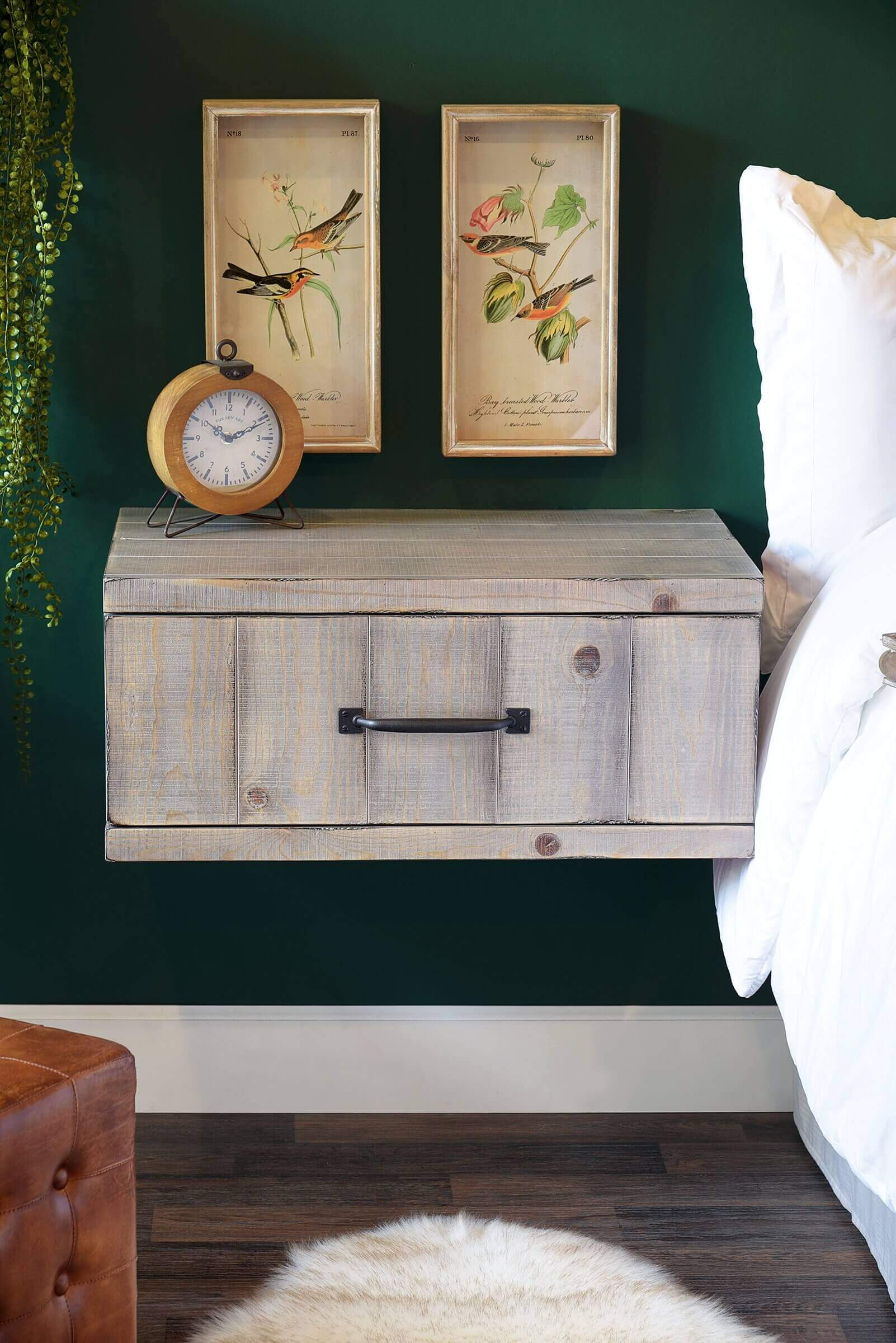 Gray Wall Mount Rustic Reclaimed Style Wood Drawer Nightstand