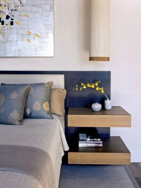 double floating wooden nightstand looks minimalist and chic not bulky at all