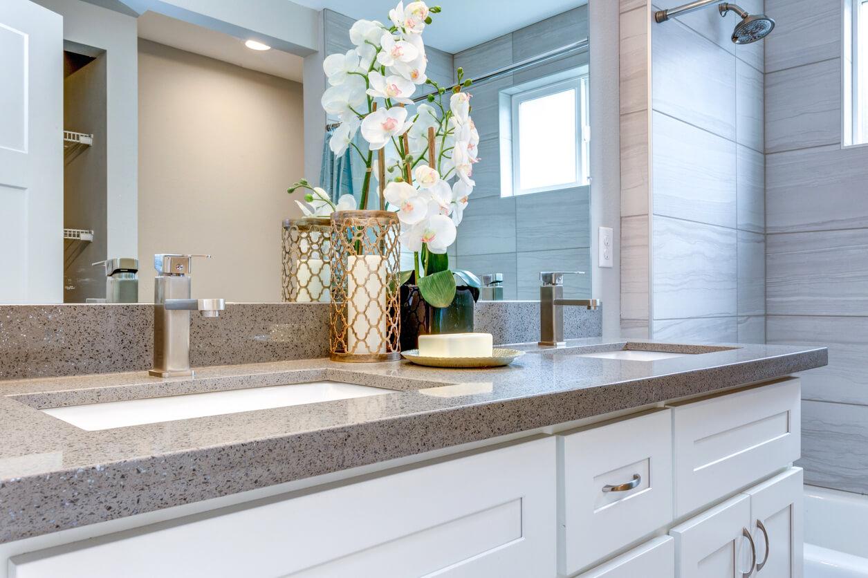 Elegant warm color bathroom design in a freshly remodeled house.