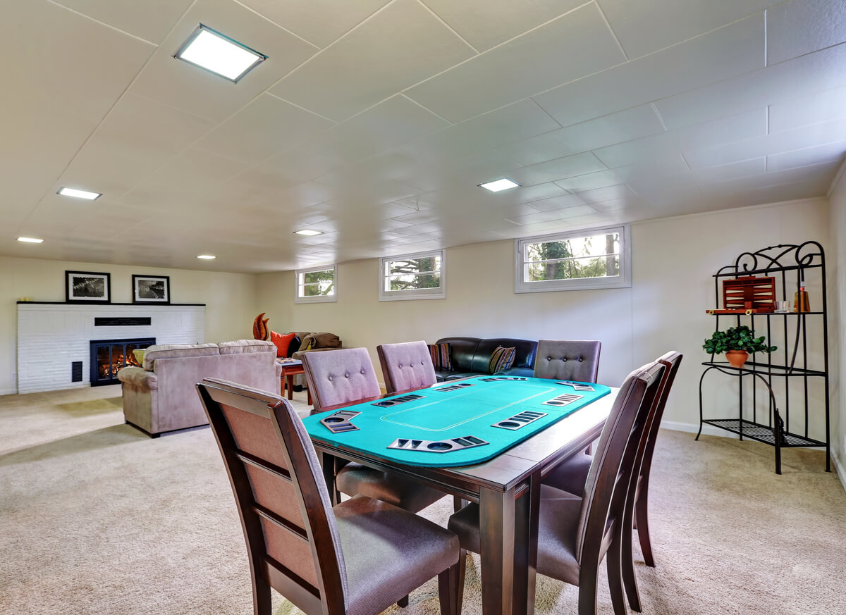 Entertainment Room in Luxury Home with fireplace and poker