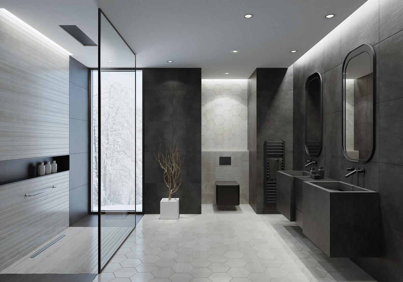 Concrete sinks in a minimalist bathroom.