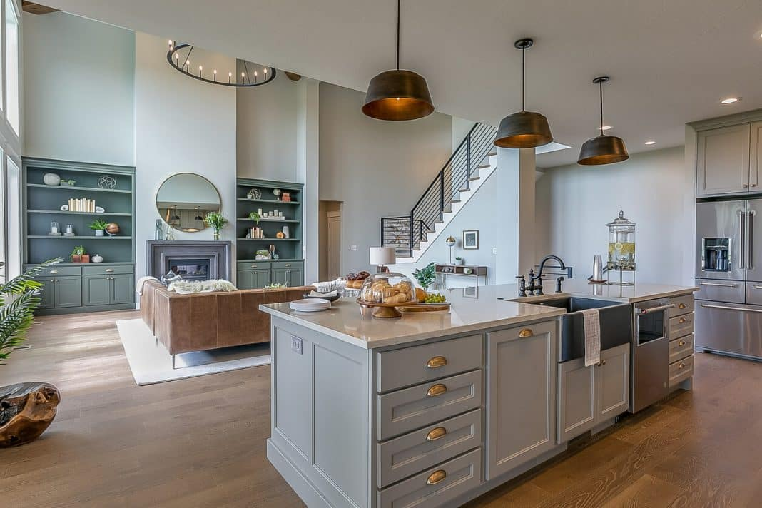 Kitchen island with gray and white colors