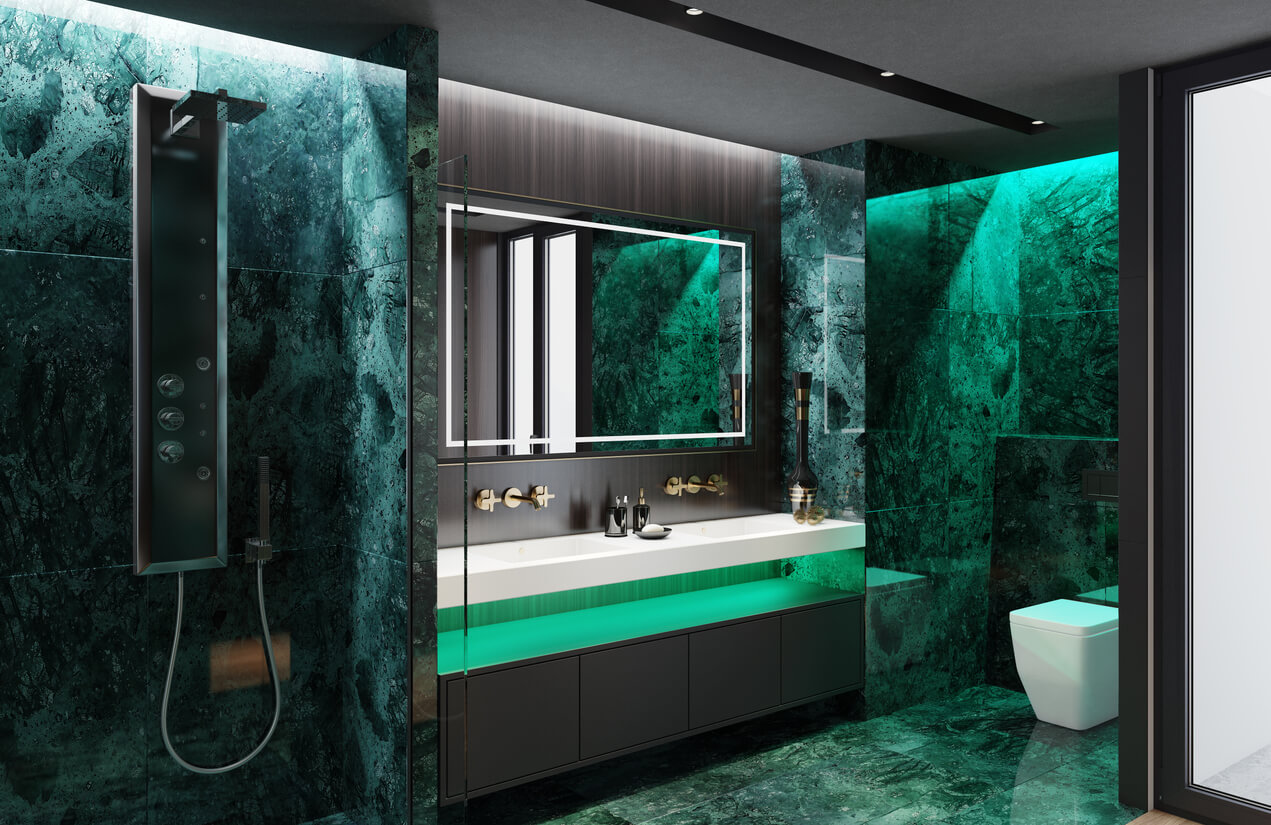Modern bathroom interior with wooden panels and green marble tiles. walk in wardrobe and shower.