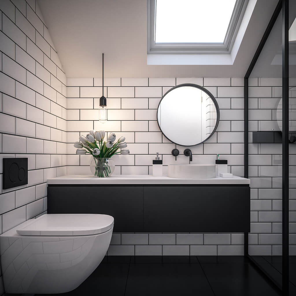 Bathroom with white subway tiles and black floating vanity shelf.