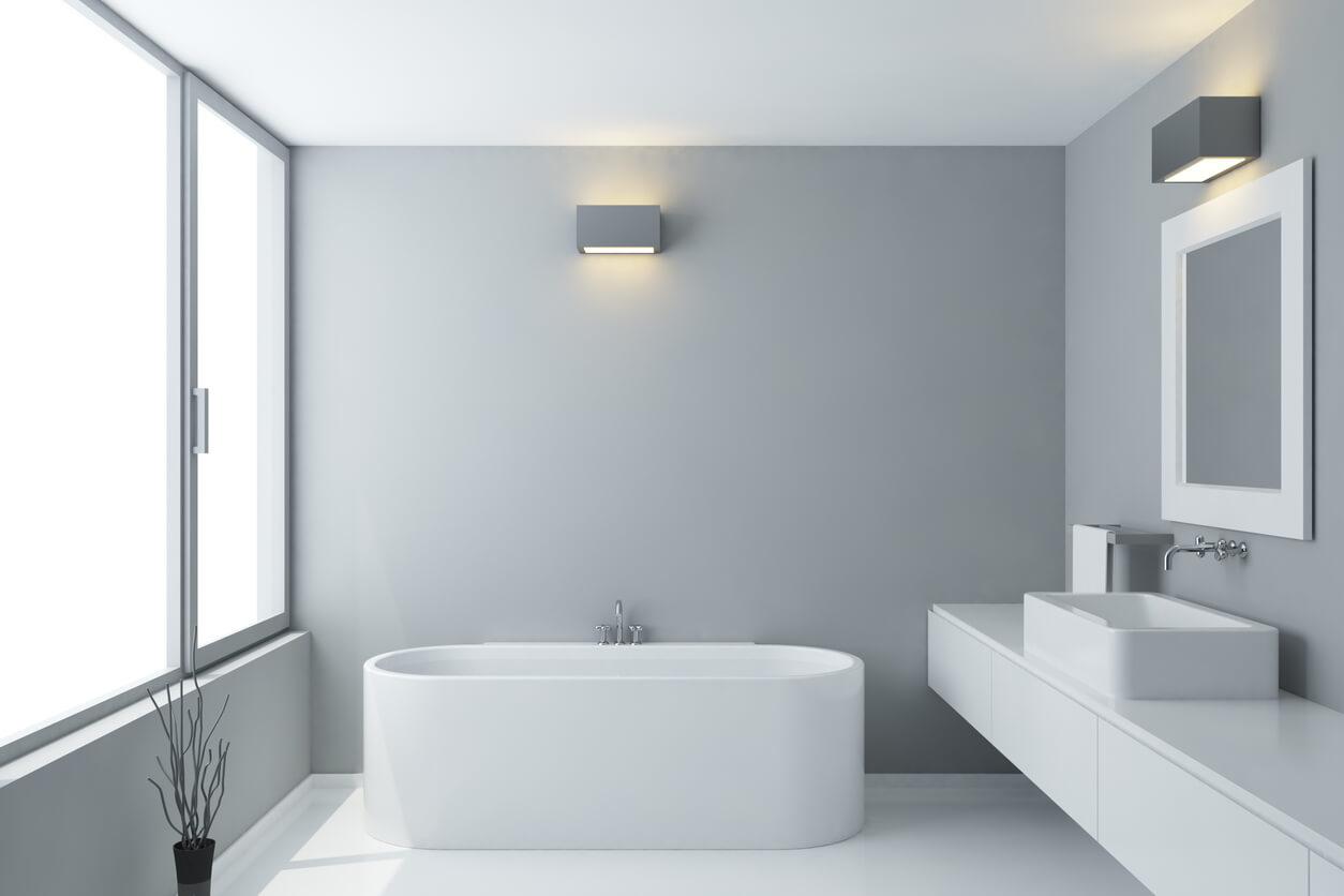 White minimal bathroom suite