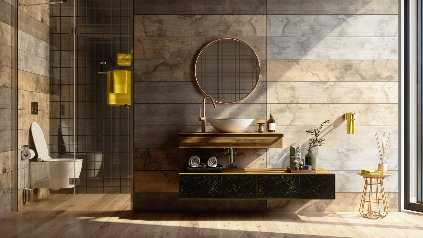 Luxury Bathroom Interior With Shower, Toilet, Mirror And Yellow Towels.