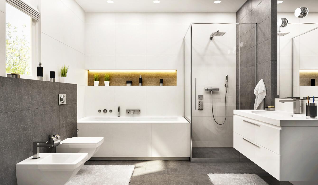 Modern white bathroom with gray tiles