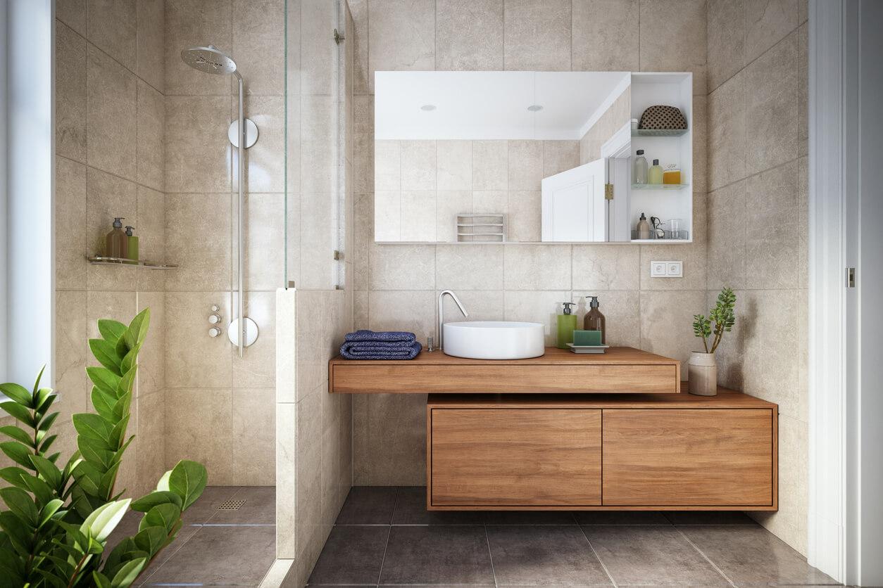 Neutral wetroom with wood vanity unit
