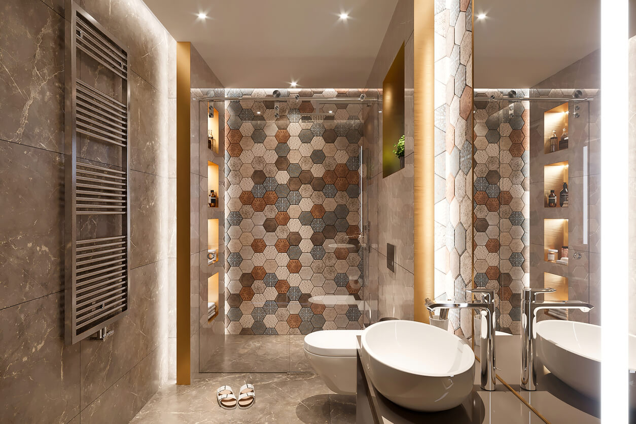 Large Mosaic tile wall in shower
