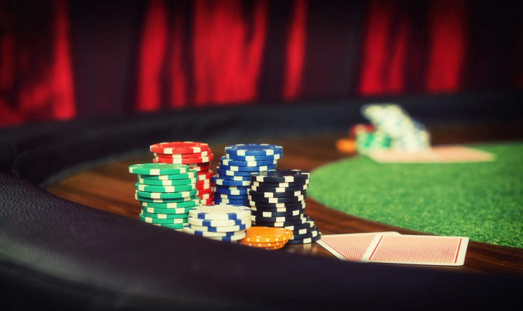 Vintage style photo from a poker table