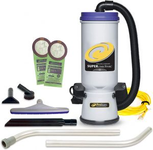 ProTeam Commercial Backpack Vacuum, Super CoachVac Vacuum Backpack with HEPA Media Filtration and Xover Multi-Surface 2-Piece Wand Tool Kit