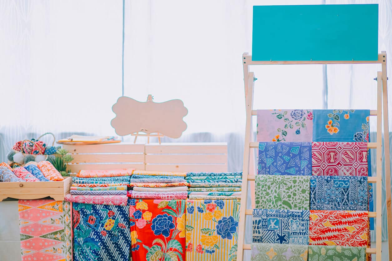 Various choices of printed batik fabric material Malaysia tradition culture hand painted textile displayed