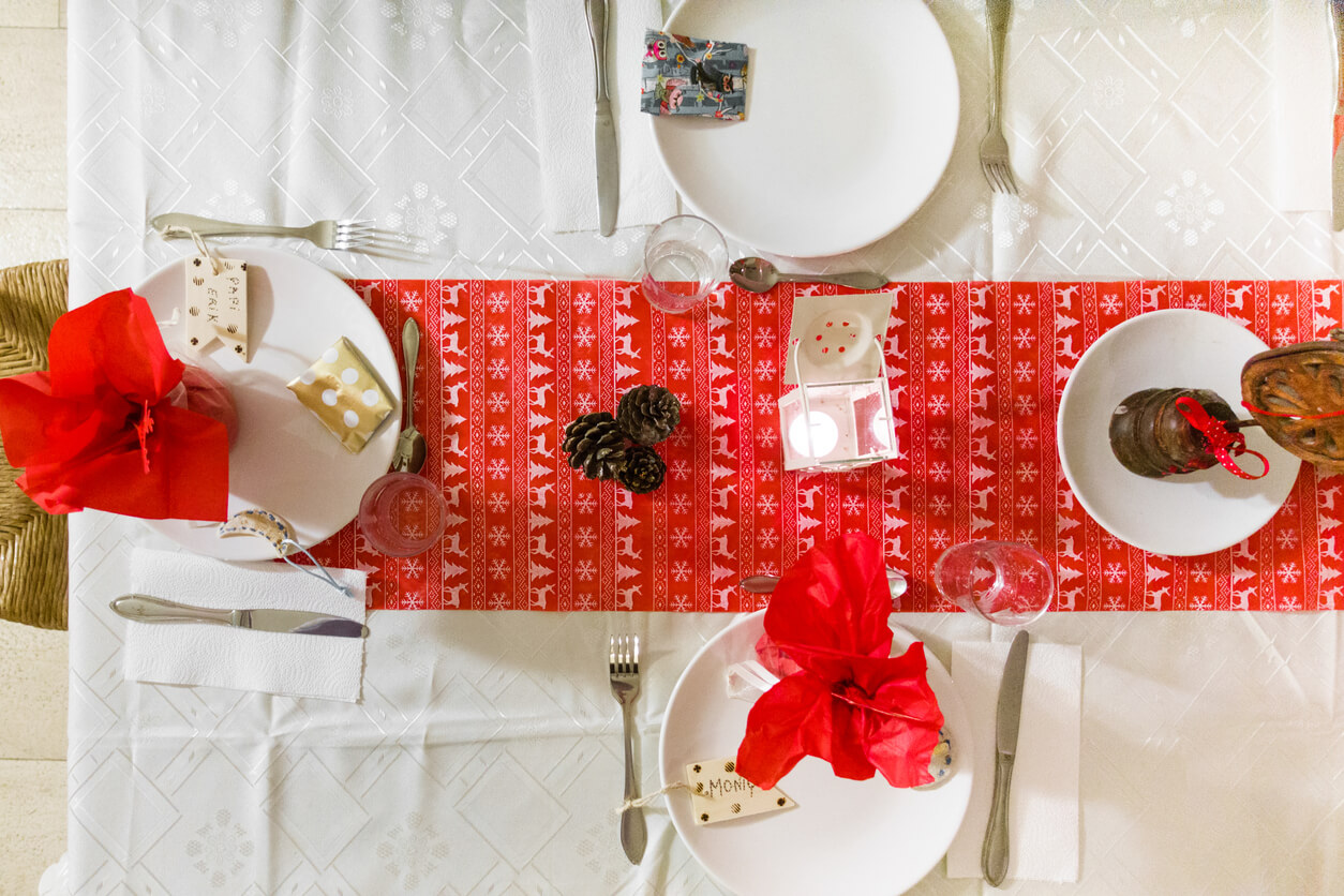 Top view of neatly arranged dining table