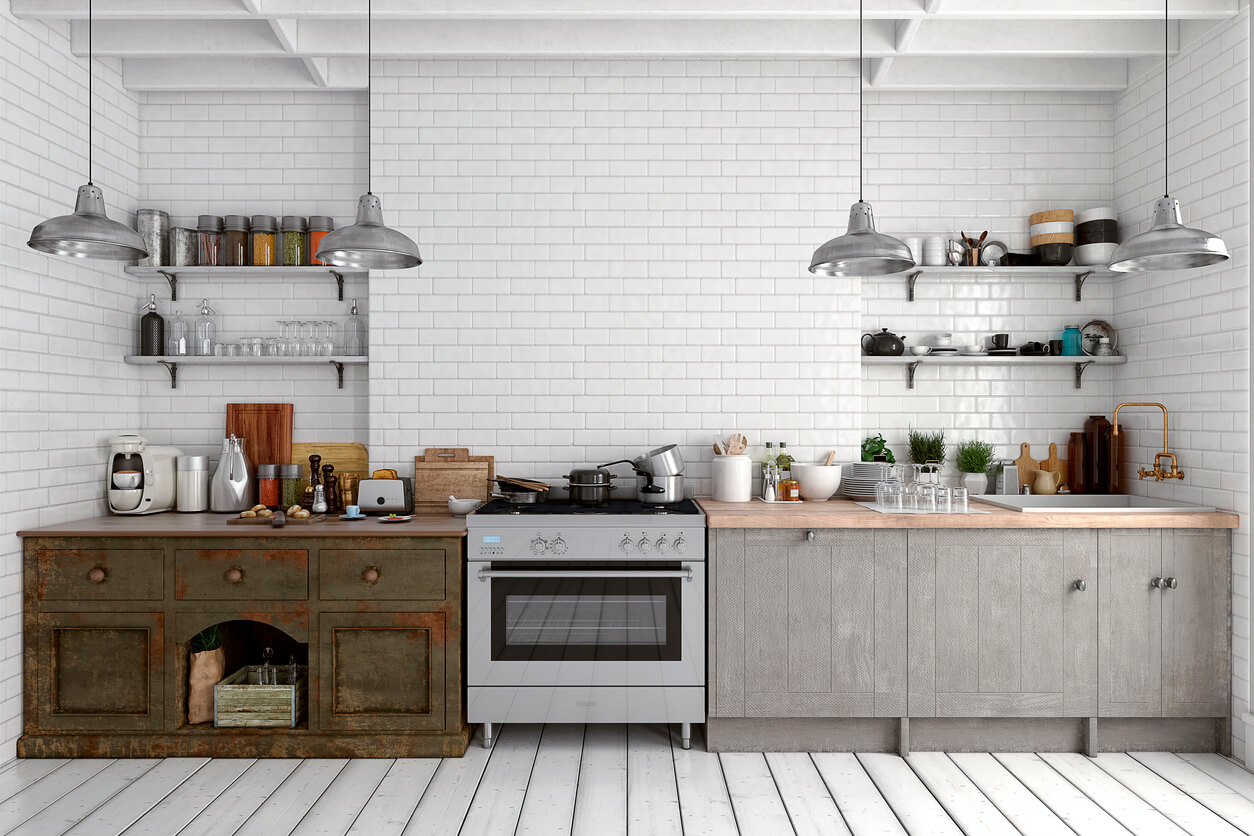 Reclaimed wood kitchen with wall shelves
