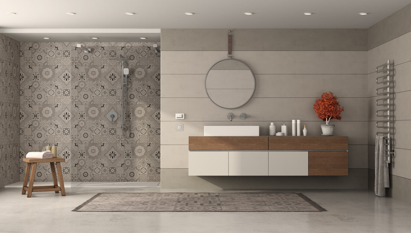 Modern bathroom with sink and shower with retro tiles