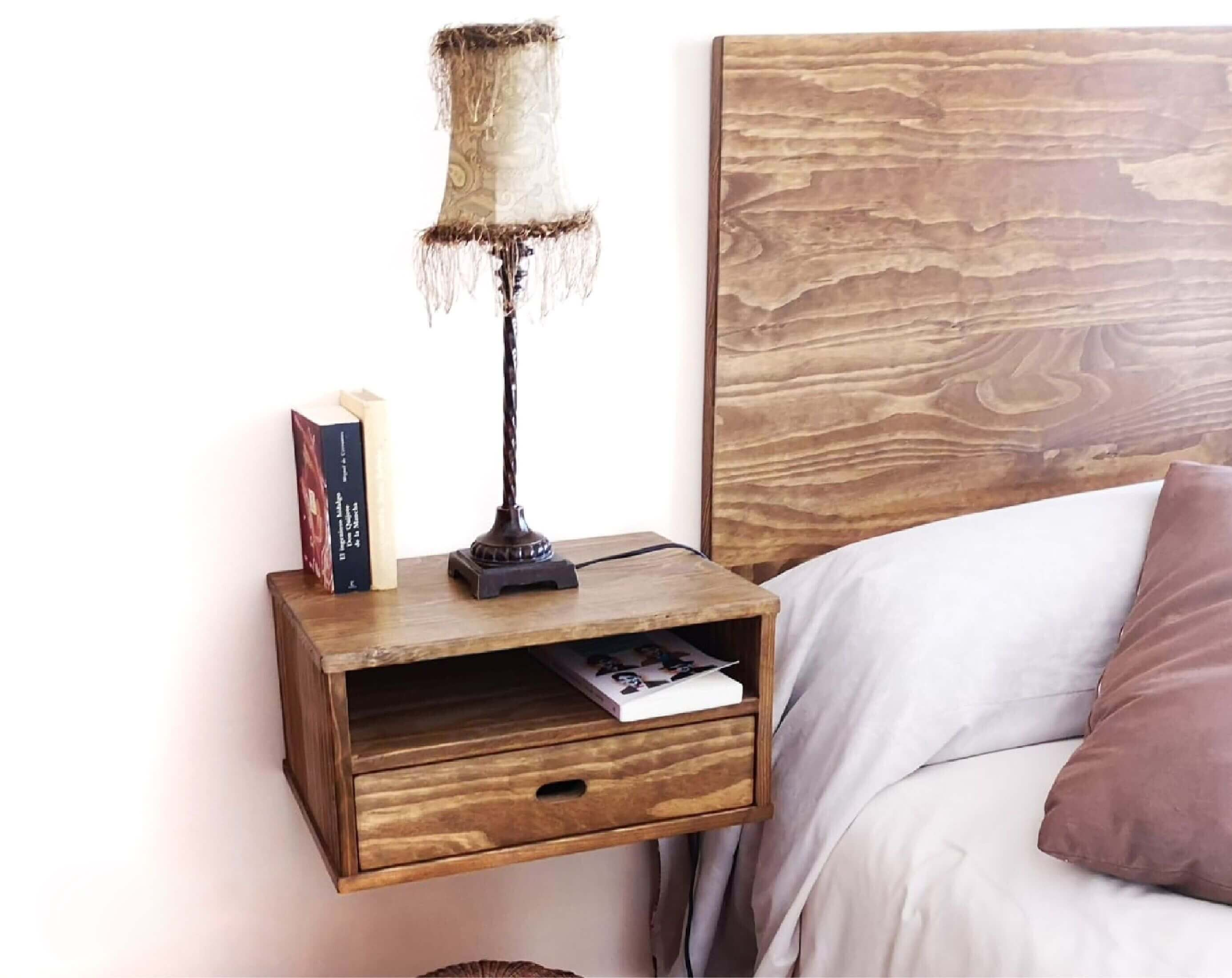 Solid wood floating shelf unit