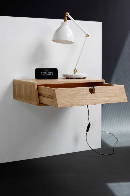 Single drawer floating nightstand in wood