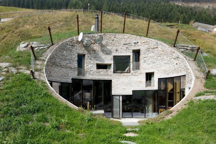 villa built into mountainside