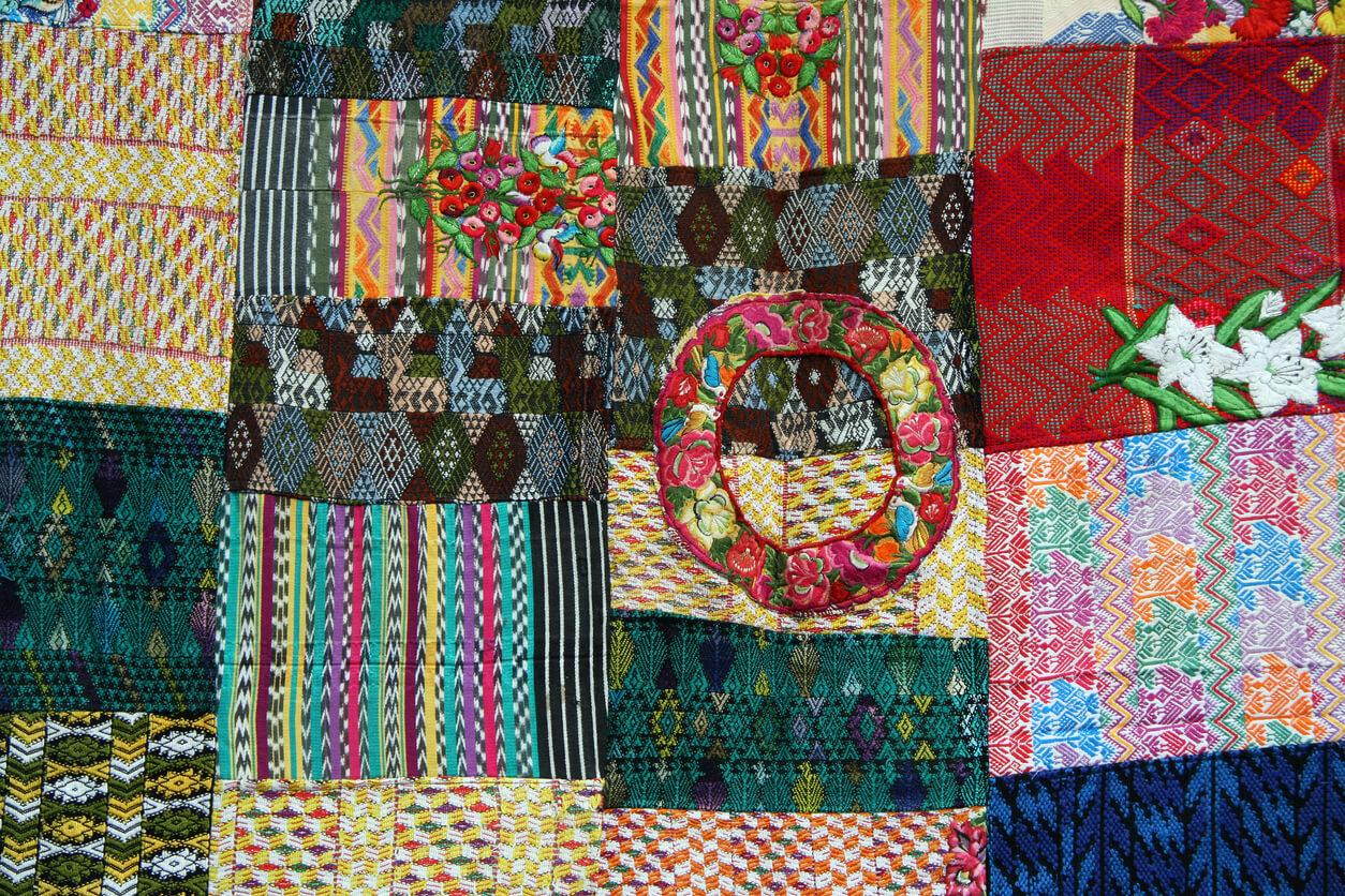 Handmade Mayan pachwork quilt for sale in Guatemala stock photo Mayan, Art, Textile, Fashion, Guatemalan Culture