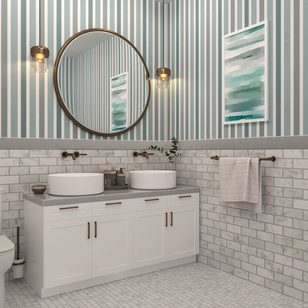 2 sinks with all white vanity