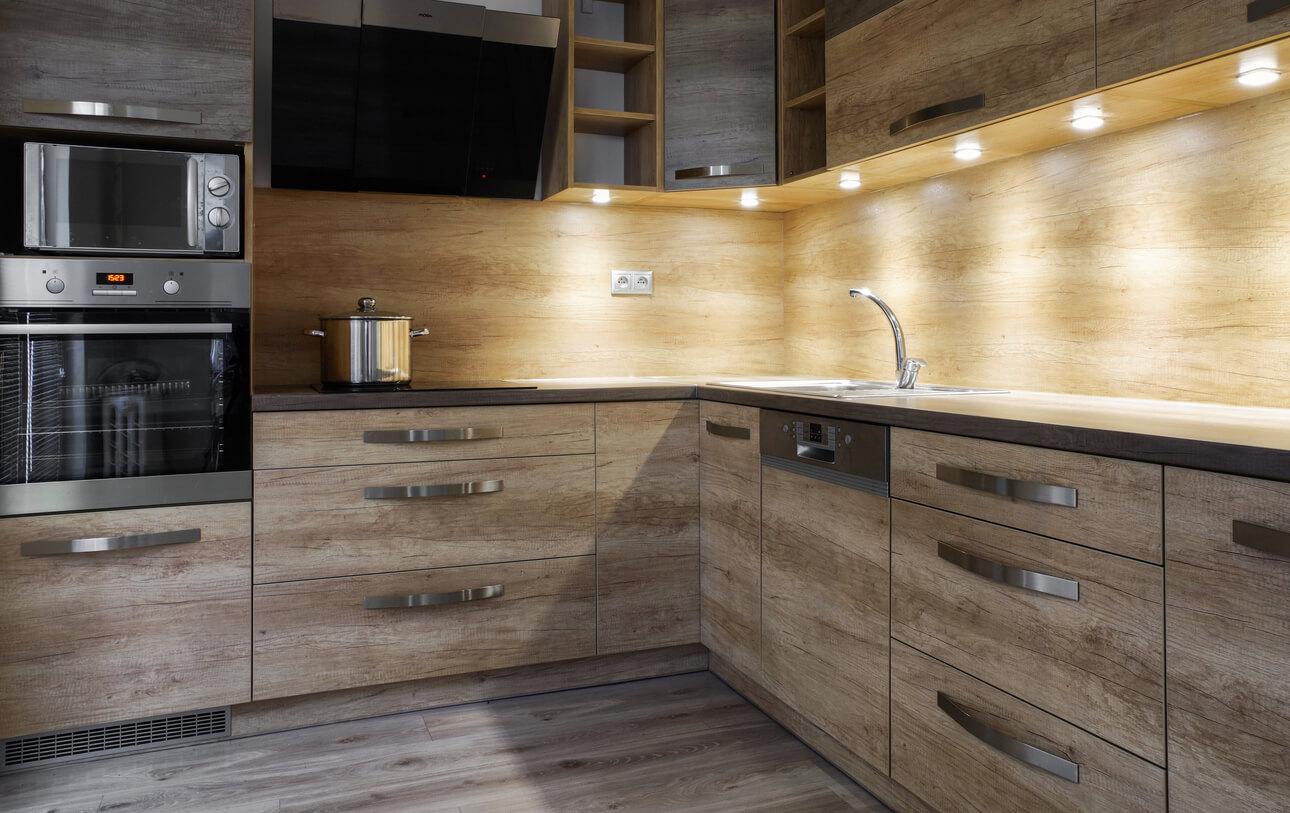 Wood grain effect kitchen cabinets